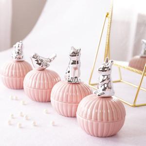 Caixa de presente de casamento menina coração jarra de cerâmica caixa de jóias anel rosa armazenamento jarra caixa de chapeamento de desktop