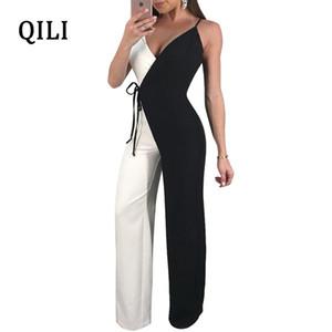 Qili Kadınlar Geniş Bacak Tulumlar Genel Spagetti Kayışı Çift Renk Tulum Romper Bayan Rahat Tulum Artı Boyutu S-xxl Y19051501