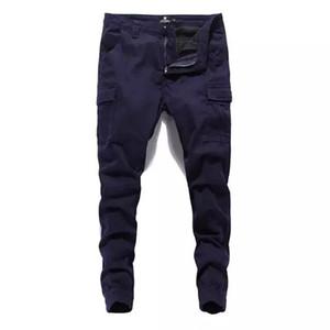 Erkek Moda Streetwear Jeans koşucu Pantolon Katı Pantolon Denim Kargo Erkek Uzun Pantolon Artı boyutu Giyim
