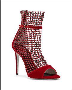 Mujeres Hollow Rivet Sandalias de tacón alto Diseñador de verano de cuero genuino zip rojo Mujeres Sexy sandalias de tacón de aguja fiesta T-stage zapatos de pasarela