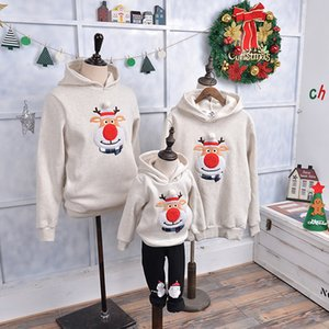 Anne Ve Kızı Ailesi Eşleştirme Kazak Moose Kadife Hoddies Erkek Bebek Noel Giyim Geyik Noel Tişörtü Yeni Yıl J190514