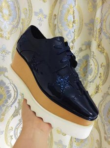 Stella Mccartney Shoes Black Window-box Cow Leather Upper with White Stars White Sole Low Top Stars Shoes