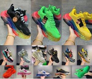 2020 Fashion Paris Triple-S Trainers Fushia Green TRIPLE S CLEAR SOLE Cheap Sports Triple S Shoes Size 35-45 for Big Boys Girls