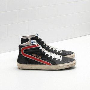 Caliente Golden Goose Superstar Mediados estrella Hight-top calzado botas de cuero genuino de los hombres y las mujeres blanca clásica Do-viejos zapatos casuales sucio deporte