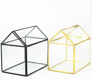 Vente chaude Nouveau Design et Haute Qualité Maison Forme Géométrique En Verre Terrarium En Gros Conteneur avec Taille L15cm x B10cm xH15cm