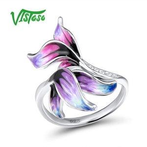 Vistoso Gümüş Yüzük Kadın Mor Yapraklar 925 Ayar Gümüş Yüzük Doğal Taş Güzel Takı El Yapımı Emaye J 190430