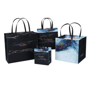 Мраморный дизайн черный бумажный мешок Фестиваль мешок руки мешок подарка Свадьба Фавор пакет Tote мешок
