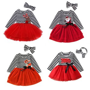 2020 Christmas Baby Outfits kids girls Long Sleeved striped Santa claus dress +stripe bow headbands 2pcs set children tutu dress suits M2196