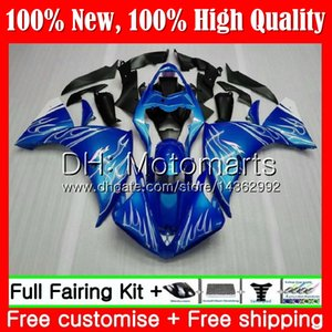 Corps pour YAMAHA YZF 1000 R 1 YZF-1000 YZFR1 09 10 11 12 99MT9 Flammes blanches YZF R1 09 YZF1000 YZF-R1 2009 2010 2011 2012 Carrosseries