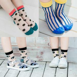 Yaz Yeni Gelgit Erkek Çorap Dikey Cam Tüp Çorap Dalga Erkek Kız Çorap Kısa Ince Moda Şeffaf Göz Baskı Kısa Çorap