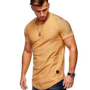 T-shirt homme couleur pure conception de rayure à manches à volants Tee shirt t-shirt à manches courtes Slim T-shirt O