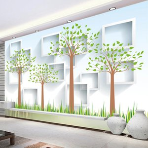 Custom Photo Wallpaper Fashion Grid Tree Modern Forest 3D TV Background Mural Bedroom Study Room Living Room Decor Wall Painting