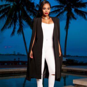 Plus Size Frauen Blazer eleganter langer Mantel Mantel-Qualitäts-Cape Weiß / Schwarz / Burgund Farbe Büro Täglich High Street ZST013