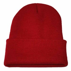 Winter Knitted Adult Casual Hip Hop Hat Women Men Acrylic Beanie Cap Unisex Solid Color Keep Warm Elastic Hats #YL5
