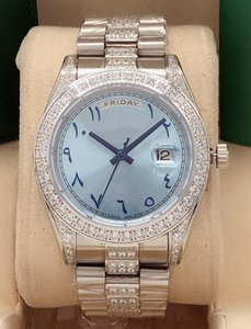 2020 anel de diamante quente 41 milímetros vendas homens semana relógio de aço inoxidável de safira data espelho e mulheres relógios mecânicos automáticos