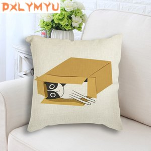 "Square 18"" Home Decorative Sofa Cushion Cover Throw Pillow Case Cartoon Cat Box Animals Art Prints Nordic Linen Cushion Case"