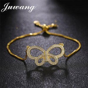 JUWANG 2018 Butterfly Charm Bracelets for Woman Gold Sliver Color Crystal Cubic Zirconia Adjustable Fashion Female Jewelry Gift
