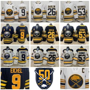 2020 Homme Femme Enfant Buffalo Sabres 9 Jack Eichel Jersey Hockey 26 Rasmus Dahlin 53 Jeff Skinner 50e anniversaire Bleu marine Blanc Cousu
