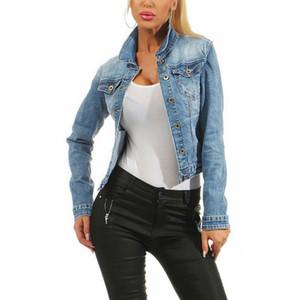 JODIMITTY Damas sólido Bombardero raída chaqueta de dril de algodón Jean básico solo pecho retro ocasional de las mujeres Outwear otoño Mujer Streetwear