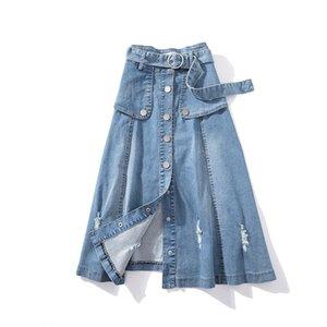 5xl плюс размер корейская джинсовая юбка кнопка длинные юбки для женщин Модные джинсы макси юбки модные Faldas Mujer Moda 2019