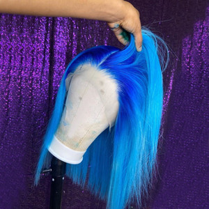 150% Плотность Боб фронта шнурка парики синий Ombre Цветные прямой парик человеческих волос 13x6 фронта шнурка Pre щипковых Бесплатная доставка