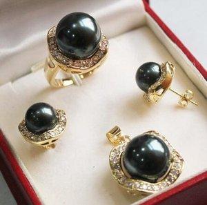 Haar volle perücken wunderschöne schwarze muschel perlenkette ohrringe ring sets stil feine edle echte natürliche