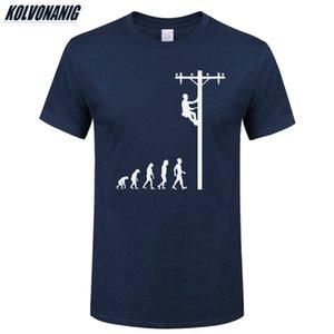 Lineman Tişörtlü Doğum Hediye İçin Elektrikçi Baba Baba Koca O-Yaka Kısa Kollu Pamuk Erkek Tişörtleri Of Human Evolution Y200409