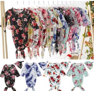 2.019 recém-nascidos de gavetas Blanket Meninos menina saco de dormir Enrole chapéu de pano Floral Impresso Long Sleeve O pescoço Sacos de Dormir 13Styles