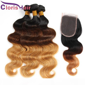 L Raw Indian Virgin Human Hair Lace Closure With 4 Bundles Body Wave Ombre Extensions Cheap 1b 4 27 Blonde Weaves Closure Wet And Wavy