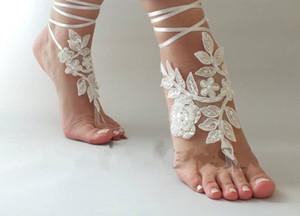 Stokta Yeni Sahil Düğün Barefoot Sandalet Gelin Dantel Düğün Ayakkabıları Nedime Hediye Gelin Halhal Balo Hediye Ucuz