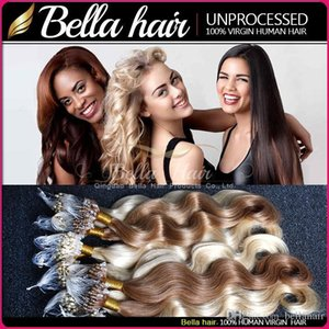 "Brazilian Loop Micro Ring Hair Extensions Body Wave 20""24"" #1#2#4 and Blond Loop Hair Weft 1g strand,100g pack Bella Hair"