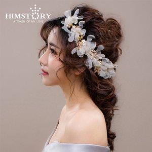 HIMSTORY New Designs Elegance Невеста Свадебные аксессуары для волос ручной работы Изысканное шампанское / белый цветок убора Acessorios