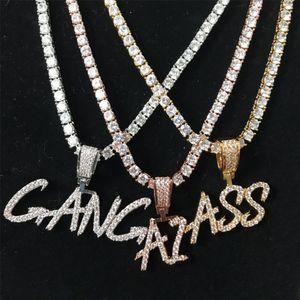 فرشاة جديدة الخط مخصص رسالة اسم قلادة سلسلة قلادة الذهب بالفضة بلينغ زركونيا مجوهرات رجالية الهيب هوب مع سلسلة حبل