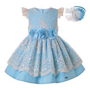 Pettigirl Verão para As Meninas Na Altura Do Joelho Vestido de Renda Azul Crianças Casamento Princesa Do Partido Crianças Elegantes Porno Frocks Roupas G-DMGD203-28