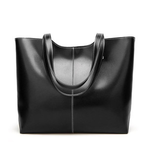 2020 womens luxury designer purses handbags Oil Wax Leather Large Capacity Tote Bag Casual Pu Leather Women Shoulder Bag black