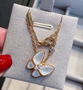 Collana lussuosa ciondolo farfalla di qualità con la natura guscio bianco e le donne di diamanti scintillanti gioielli regalo di fidanzamento trasporto libero PS5072