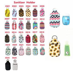 26 Colors RTS Neoprene Hand Sanitizer Bottle Holder Keychain Bags 30ML 10.3*6cm Key Rings Hand Soap Bottle Holder Free Dropshipping AC1477