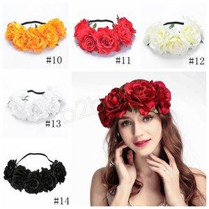 Mulheres Rose Hairband grinalda Arcos cabelo cabeça Bohemia Handmade Flor artificial à beira-mar hairband Crown Casamento Headdress grinalda GGA1696