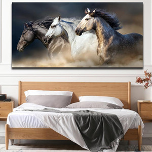 Three Black and White Running Horse Canvas Painting Modern Unframed Wall Art Posters Pictures Decoration for Home Office