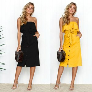 Women Summer Backless Boho Long Dress Maxi Evening Party Sleeveless Ruffles Solid Straight Dress Beach Sundress free shipping