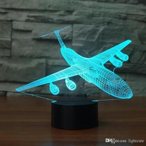 7 Farben, die USB-Baby-Schlaf-Beleuchtung Aircraft 3D-Nachtlicht LED-Luft-Fläche Tischlampe Schlafzimmer Nacht Dekor Weihnachten Geschenke für Kinder