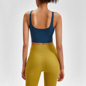 Новый U-Back Quick Dry проложенного Фитнес Бюстгальтеры Crop Tops Женщина Сплошной Vest-Type Нейлон Йога тренировка Спорт бюстгальтеров со съемными колодками