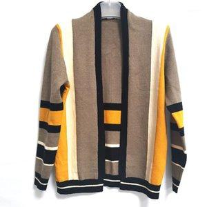 Gilet Hommes Manteaux Casual manches longues hommes Vêtements Stripe lambrissé Mens Designer Fashion Swaeters Mulit Couleurs