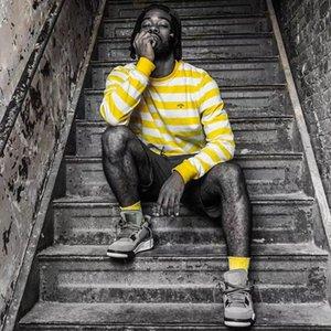 20SS Amarelo Branco Stripes Letra pequena Bordado camisola clássico pulôver camisa camisola Rua Outwear Casual manga comprida HFHLWY182