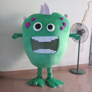 2019 высокое качество большой рот зеленые микробы бактерии монстр костюм талисмана для взрослых для продажи