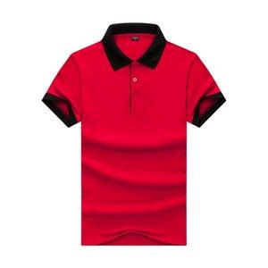 Удобные бисером контраст лацканы тонкий Поло лето новые взрослые мужчины Красный заколдованный черный рукав футболки JH-016-031