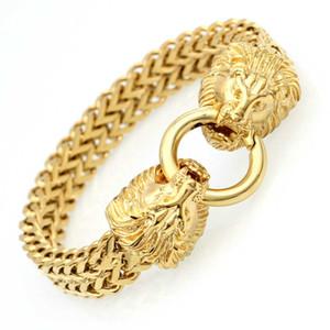 Античная Double Lions Head Елочка Цепь Браслет для мужчин из нержавеющей стали Gold Tone Hip Hop Punk Мужчины ювелирные изделия 22.5cm