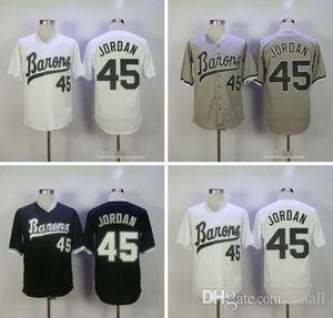 마이클 # 45 버밍햄 바론 영화 유니폼 레트로 야구 저지 블랙 화이트 그레이 Sticheds