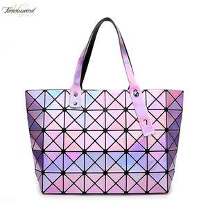 Laser Women Handbag Dazzle Color Plaid Tote Casual Bags Female Fashion Fold Over Handbags Lady Sequins Mirror Saser Bag