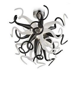 Luz pendiente de cristal de tamaño mini Blanca y Negro de la lámpara Fixture de estar Comedor Decoración Chihuly Murano